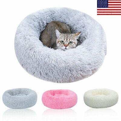 Donut Plush Pet Dog Cat Bed Fluffy Soft Warm Calming Bed Sleeping Kennel Nest US