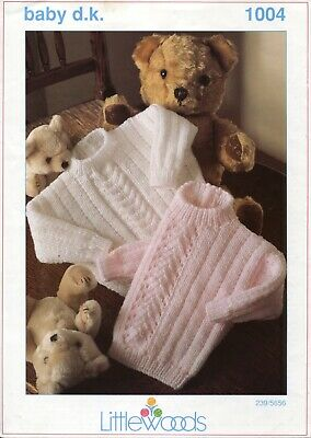"Littlewoods 1004 Baby Sweater DK 16-22"" Vintage Knitting Pattern"