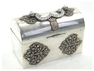 Antique 19th century French silver plate dome topped jewellery box casket Bastia