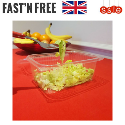 Rectangular Plastic Food Salad Container Storage Disposable Lid Clear Lunch Box