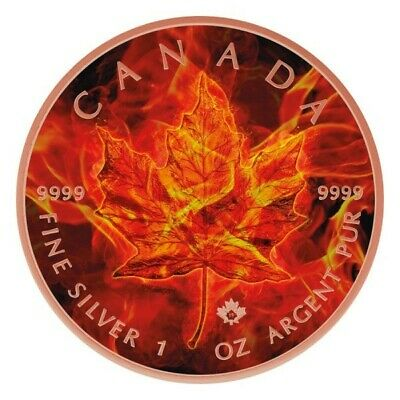 BURNING MAPLE LEAF 5$ Maple Leaf Colorized 1oz Rose Gold Gilded Coin Canada 2019