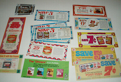 1970's Cereal box and Product vintage coupons