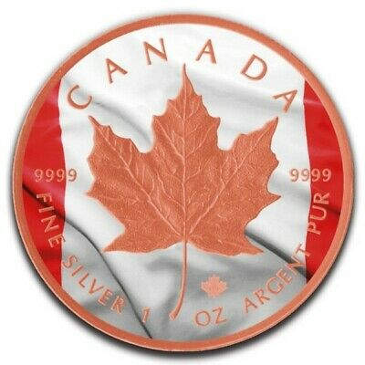 CANADIAN FLAG 5$ Maple Leaf Colorized Rose Gold Gilded 1oz Silver Coin Canada 20