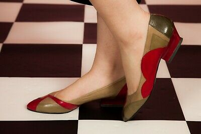 Vintage cream brown & red leather court shoes by Martinez Valero