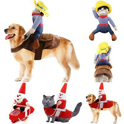 Christmas Santa Claus Pets Dogs Fancy Clothes Dress Jacket Coat Outfits Costumes
