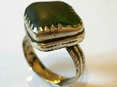 Unique Gifts,Detector Find & Polished,Post Medieval Bronze Ring With Green Stone