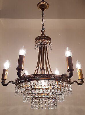Antique Vintage 6 Arms Brass & Crystals Chandelier Lighting Ceiling Lamp RARE!!!