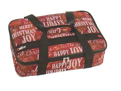 Insulated Casserole Carrying Tote Red Happy Holidays Merry Christmas