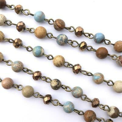 Blue Crystal Jasper Stone Beaded Rosary Antique Brass Eyepin Chain 6mm 2ft 66360