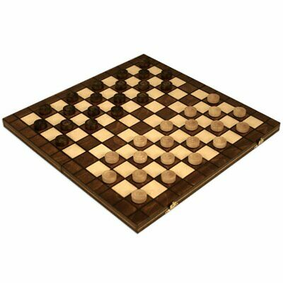 """International Checkers Draughts Set in Folding Wooden Case 100 Field - 15-1/2"""""""