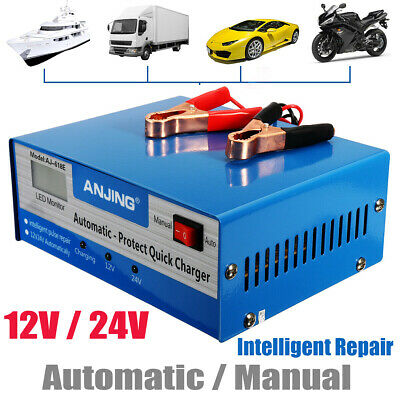 10A 12V/24V Car Battery Charger Jump Starter Motorcycle Intelligent Pulse Repair