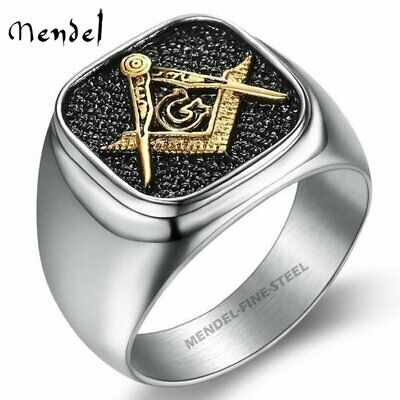 MENDEL Mens Stainless Steel Gold Freemason Masonic Lodge Ring Silver Size 7-14