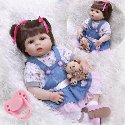 22'' Reborn Baby Girl Dolls Rooted Hair Newborn Babies Vinyl Silicone Doll Gift