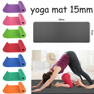 Extra Thick 15MM Yoga Mat Exercise Gym Pilates Sports Fitness & Carrier Straps