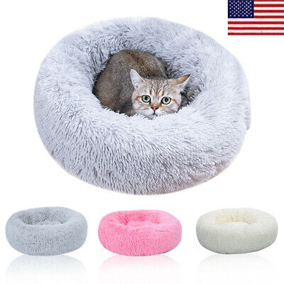 Pet Dog Cat Warm Calming Bed Plush Round Nest Sleeping Bag Comfy Flufy Nest