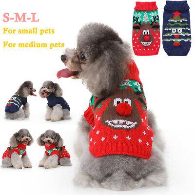 Pet Dog Cat Puppy Christmas Warm Jumper Knitted Sweater Hoodie Clothes Xmas Gift