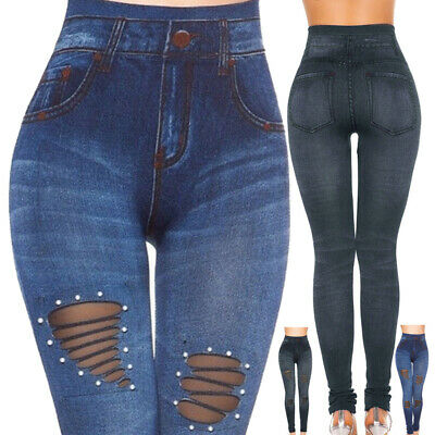 Womens Skinny Fit High Waist Stretch Jeans Denim Pants Jeggings Pencil Trousers
