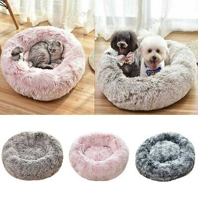 Dog Round Cat Winter Warm Sleeping Bag Long Plush Soft Pet Bed Calming Bed CA