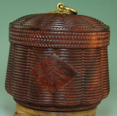 China Red Sandalwood Carved cylindrical Jar Pot Kettle Tea Canister Caddy Ae01