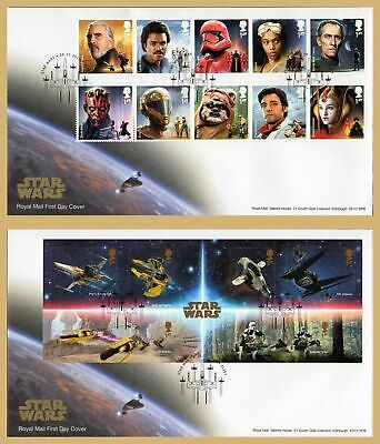 2019 STAR WARS Stamp Set or Mini Sheet FIRST DAY COVERS (choice) FLEET Handstamp