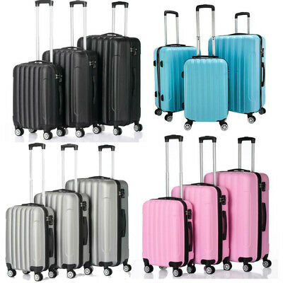 "20"" Single or 20"" 24"" 28"" Set of 3 Luggage Set Travel Bag ABS Trolley Suitcase"