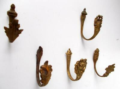Job Lot of 5 Various Vintage French Bronze Curtain Tie Back Hooks / Wall Hooks
