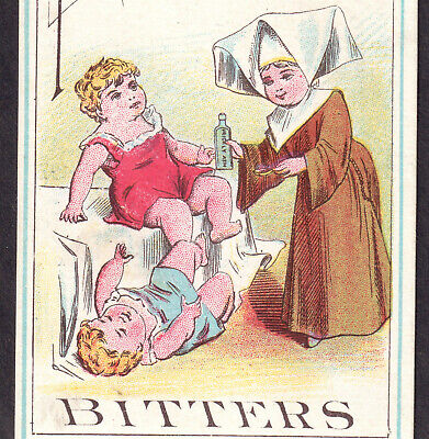 Prickly Ash Bitters St Louis Kansas City Kidney Liver Cure Bottle Trade Card Nun