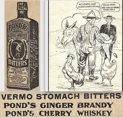 Ponds Cherry Whiskey Ginger Brandy Vermo Stomach Bitters Bottle Farm Trade Card