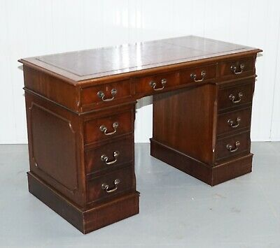 Red Leather Top Pedestal Desk With. Gold Leaf Embossed Top