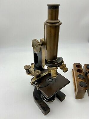 1906 Antique Bausch & Lomb Brass Optical Microscope #81459 Patina,Free Shipping!
