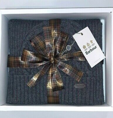 Barbour Box Gift Hat and Scarf Unisex MAC0338 Cromer, Beanie & Scarf
