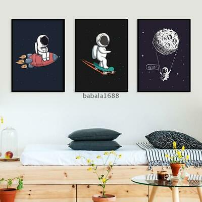 Cartoon Space Astronaut Poster Canvas Art Printing Children Room Decoration