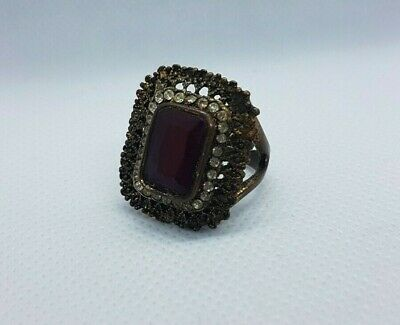 Rare ancient vintage roman ring bronze red stone artifact authentic very amazing