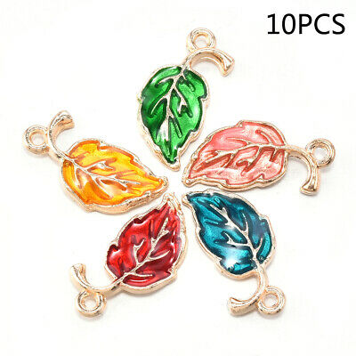 Cute Enamel Alloy Leaf Leaves Charms Pendants DIY Craft Jewelry Making 10Pcs