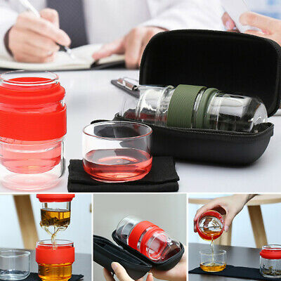 Travel Glass Tea Set Portable Kung Fu Tea Pot Cup Camping Travel Watering
