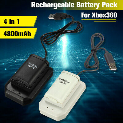 4800mAh USB Battery Pack Charger Cable Dock for Xbox 360 Wireless Controller