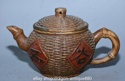 "7"" Marked Old Chinese Yixing Sandy Clay Zisha Bamboo Crate Teakettle Pot"