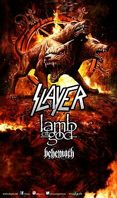 SLAYER / LAMB OF GOD / BEHEMOTH 2017 CONCERT TOUR POSTER - Thrash Metal Music