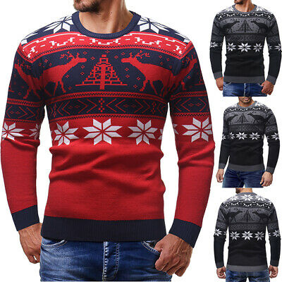 Christmas Deer Mens Fashion Sweater Casual Jumpers Knitwear Warm Autumn Pollover