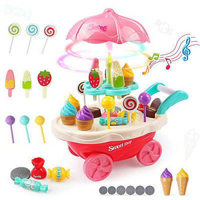 Kids Pretend Play Set Developmental Baby Toys Ice Cream Trolley Music Lights New