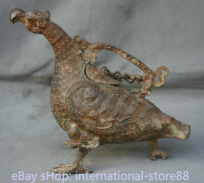 "10"" Old Chinese Xizhou Dynasty Bronze Ware Portable Phoenix Zun Wine Vessel"