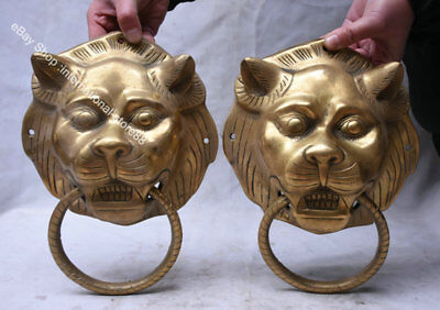 """10.4"""" Rare Old China Brass Fengshui Foo Fu Dog Guardion Lion Tiger Pair Statue"""