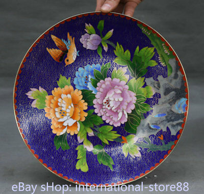 """10.2"""" Old Chinese Copper Cloisonne Palace Peony Flower Bird Plate Tray"""