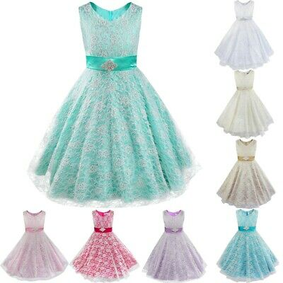 Kids Girls Floral Lace Pageant Party Communion Ball Prom Gowns Flower Girl Dress