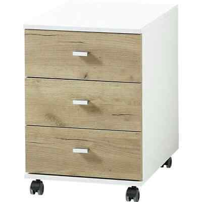 Germania Rolling Filing Cabinet Altino Navarra-oak and White Storage Desk