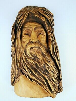 Wood Hand Carved Face Mountain Man Viking Beard Mancave Antique Rustic 20x12