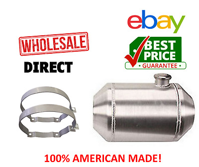 New 9 Gallon 11x22 Aluminum Round Silver Fuel Gas Tank Can Reservoir w// Bracket