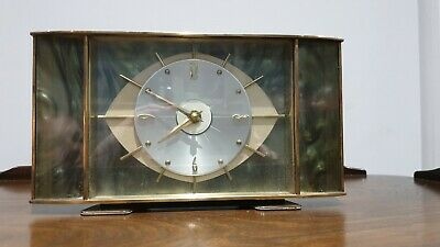 Superb Mid Century Modern Metamec Abalone Eye Clock Atomic Sunburst Full Working