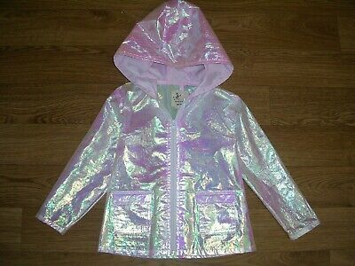 RIVER ISLAND Girls Pink Iridescent Rain Coat Unicorn Jacket Age 2-3 98cm