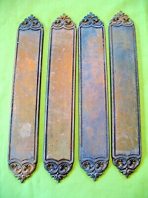 Set of 4 old reclaim salvaged Rococo ornate cast brass door handle push plates
